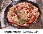 white bean with meat | Shutterstock . vector #606062234