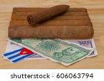 luxury cuban cigars and money... | Shutterstock . vector #606063794