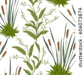 seamless pattern with bulrush... | Shutterstock .eps vector #606073874