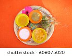 a  thali  plate  with... | Shutterstock . vector #606075020