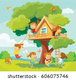 illustration with summer... | Shutterstock .eps vector #606075746