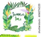 summer hand drawn watercolor... | Shutterstock . vector #606076220