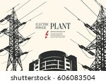 electric power station.... | Shutterstock .eps vector #606083504