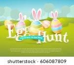 vector cute poster for easter... | Shutterstock .eps vector #606087809