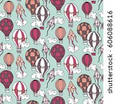 seamless pattern with balloons  ... | Shutterstock .eps vector #606088616