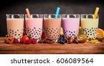 row of fresh boba bubble tea... | Shutterstock . vector #606089564
