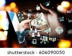 fintech investment financial... | Shutterstock . vector #606090050