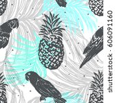 ink hand drawn jungle seamless... | Shutterstock .eps vector #606091160