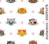 cute vector seamless pattern... | Shutterstock .eps vector #606091478