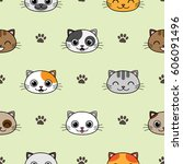 cute vector seamless pattern... | Shutterstock .eps vector #606091496