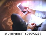 male hands using smartphone... | Shutterstock . vector #606093299