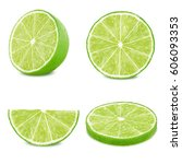 lime slices set isolated on... | Shutterstock . vector #606093353