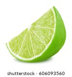 slice of lime isolated on white ... | Shutterstock . vector #606093560