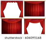 four designs of red curtains... | Shutterstock .eps vector #606095168