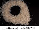 closeup rice on black...   Shutterstock . vector #606102230