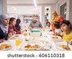muslim traditional family... | Shutterstock . vector #606110318