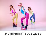 young sporty women doing... | Shutterstock . vector #606112868