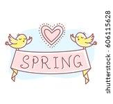 vector spring illustration of... | Shutterstock .eps vector #606115628