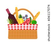 wicker basket for a picnic with ... | Shutterstock .eps vector #606117074