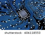 black blue pcb with microchip.... | Shutterstock . vector #606118553