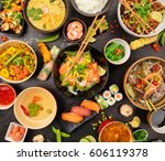 Asian Food Table With Various...