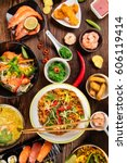 asian food table with various... | Shutterstock . vector #606119414