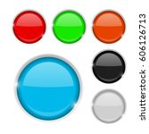 round buttons. colored set of... | Shutterstock . vector #606126713