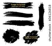 set of black  ink paint brush... | Shutterstock .eps vector #606126818