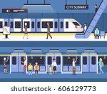 people in city subway.... | Shutterstock . vector #606129773