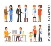 different medical staff with... | Shutterstock . vector #606129854