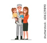 military man with his family.... | Shutterstock . vector #606129890