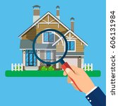 magnifying glass with house.... | Shutterstock .eps vector #606131984