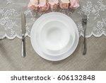 dish on a linen background.... | Shutterstock . vector #606132848