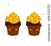 cute cakes  whole and bitten ...   Shutterstock .eps vector #606133220