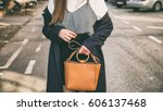 fashion blogger outfit details. ... | Shutterstock . vector #606137468