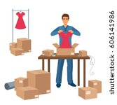 delivery service man packs...   Shutterstock .eps vector #606141986