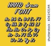 handwritten lettering font...   Shutterstock .eps vector #606143144