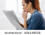 troubled woman looking... | Shutterstock . vector #606148028