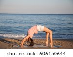 the girl is engaged in fitness...   Shutterstock . vector #606150644