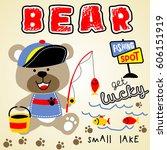 Stock vector bear fishing time kids t shirt design wallpaper vector cartoon illustration 606151919