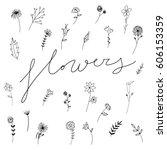 Stock vector sweet vector flowers hand drawn black flowers hand drawn illustration 606153359