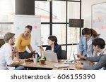 multiethnic group of happy... | Shutterstock . vector #606155390