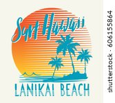 surf sport hawaii typography ... | Shutterstock .eps vector #606155864