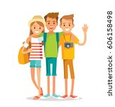 young people traveling | Shutterstock .eps vector #606158498