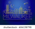 minimal milwaukee linear city... | Shutterstock .eps vector #606158798