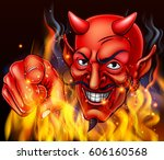 a devil surrounded by flames...   Shutterstock .eps vector #606160568
