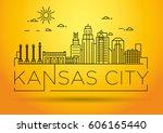 minimal kansas linear city... | Shutterstock .eps vector #606165440