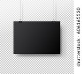 black poster hanging on binder. ... | Shutterstock .eps vector #606165530