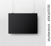 black poster hanging on binder. ... | Shutterstock .eps vector #606165530
