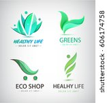 vector set of eco  organic food ... | Shutterstock .eps vector #606174758